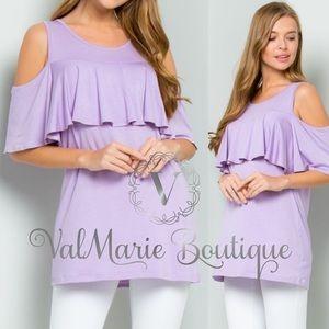 Pastel lavender cold shoulder top